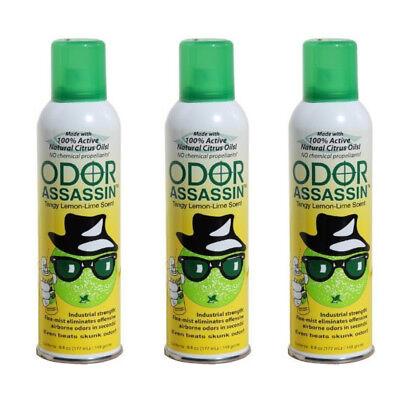 Odor Assassin Odor Control Spray, LEMON & LIME scent, Pack of 3
