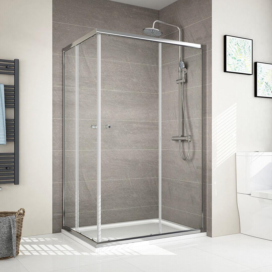 80x120cm Duschkabine Eckeinstieg Schiebetür Duschabtrennung Duschwand ESG Glas