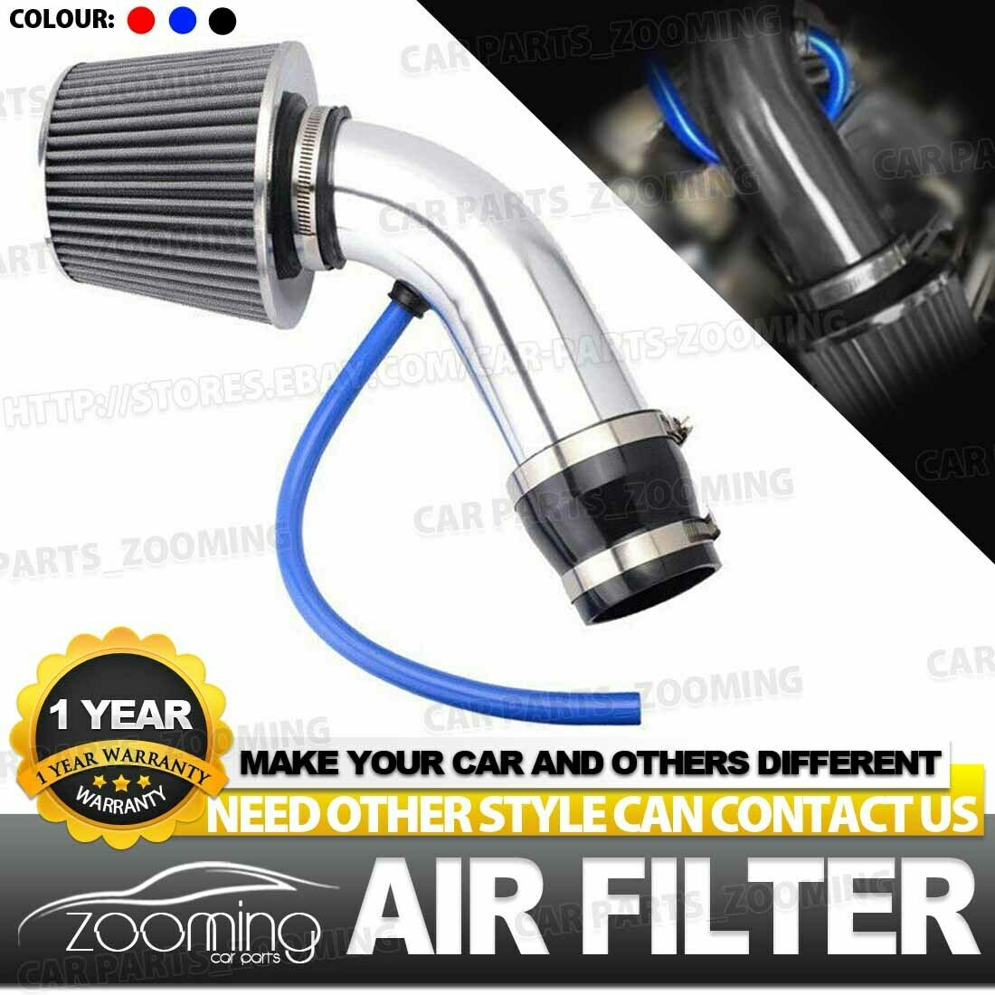 Universal 76mm Vehicle Car Cold Air Intake Filter Induction Kit Pipe Hose System