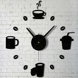 Stylish Coffee Cups Kitchen Wall Art Mirror Clock Watches  Decor  For Living