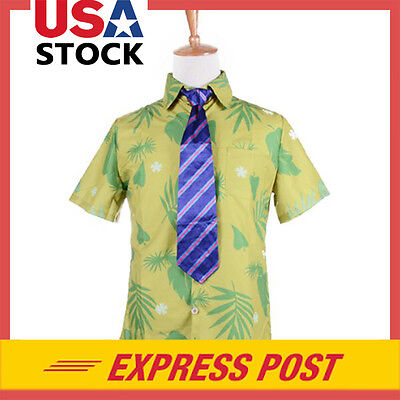 Movie Zootopia Fox Nick Wilde T Shirt and Tie Cosplay Mens Halloween Costume Tee (Halloween Costumes Shirt And Tie)