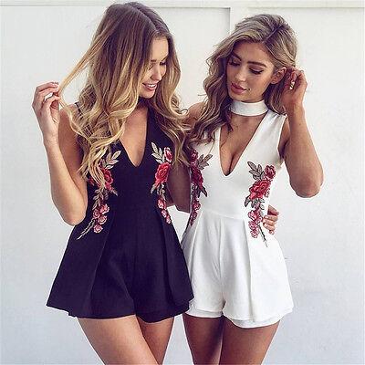Womens Flower Sleeveless V Neck Summer Shorts Jumpsuit Playsuit Romper Bodysuit