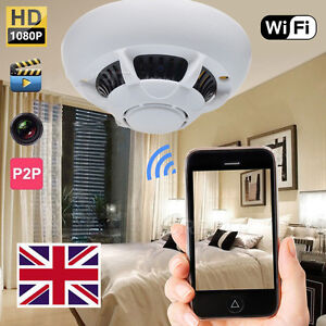 HD 1080p Spy IP WiFi Camera Hidden Smoke Detector Motion Detection Nanny Cam UK