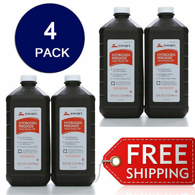 Swan Hydrogen Peroxide 3% Antiseptic First Aid Oral New Sealed Bottle 32oz 4pack