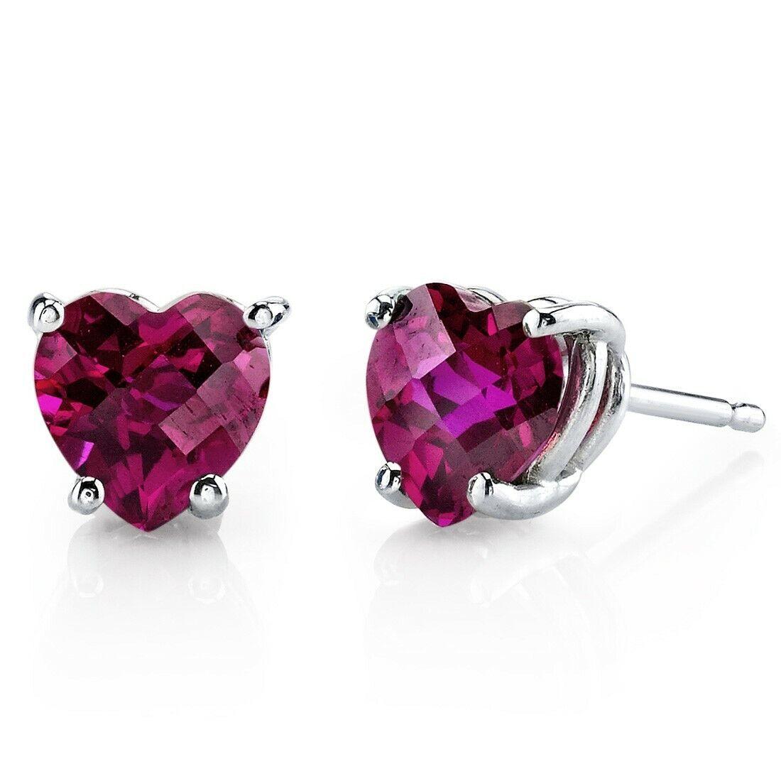 2.19 ct Heart Shape Red Created Ruby Stud Earrings in 14K