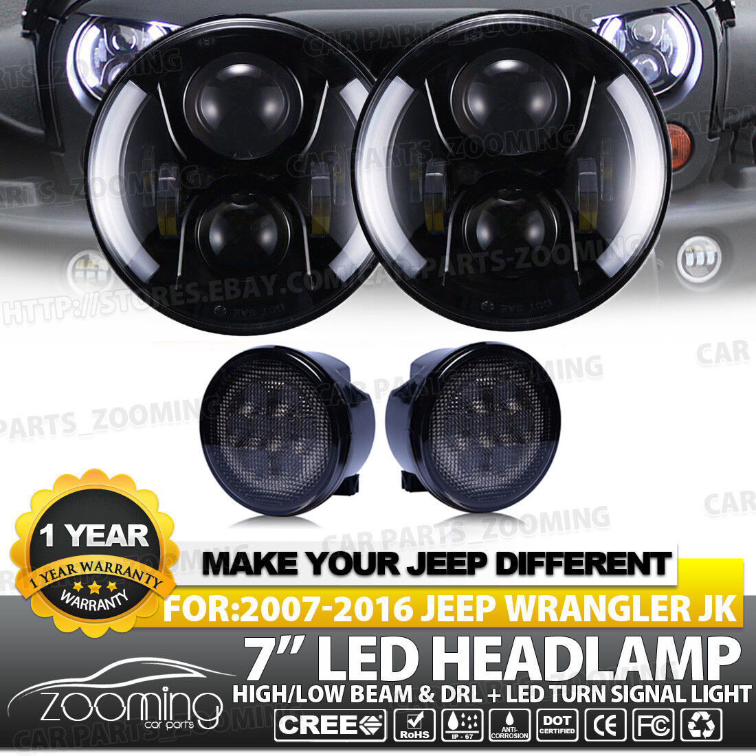 7 In 80w Cree Led Headlight Halo Ring Angel Eyes With Side