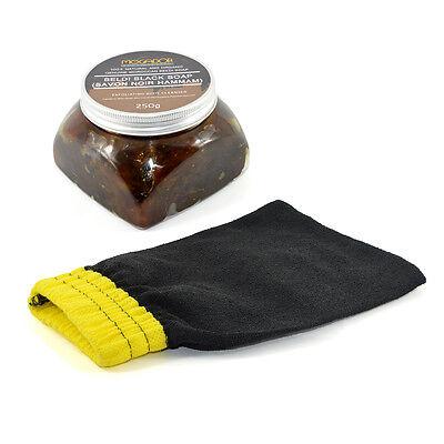 Moroccan Beldi Black Soap Savon Noir 250g with Hammam Kessa Exfoliation Glove