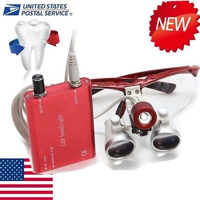 Led Head Light Dental Surgical Medical Binocular Loupes 3.5x 420mm Set Kit Usa