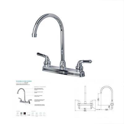 High Arc Bath Faucet (High Arc Swivel Top Kitchen Sink Faucet Chrome Finish RV Trailer Camp Bath Spout )