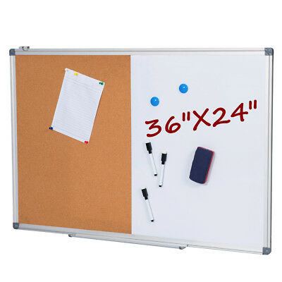 36 x 24 Inch Dry Erase & Cork Bulletin Board Set, 1/2 Corkboard & Whiteboard Dry Erase Board Set