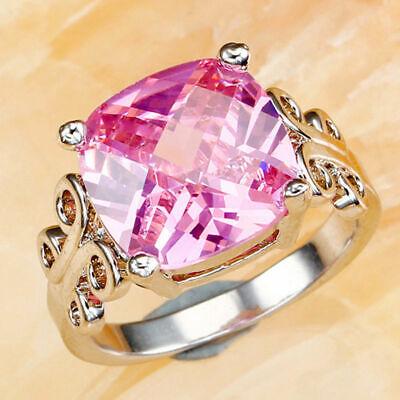 925 Sterlingsilber Rosa Saphir Damen Mode Ehering Verlobungsring Größe: 9 (Damen-mode Ringe Größe 9)