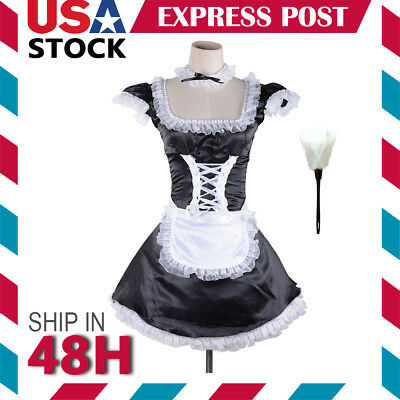 Lady French Maid Nurse Waitress Costume Lolita Cosplay Fancy Dress Halloween US - Nursing Costumes Halloween