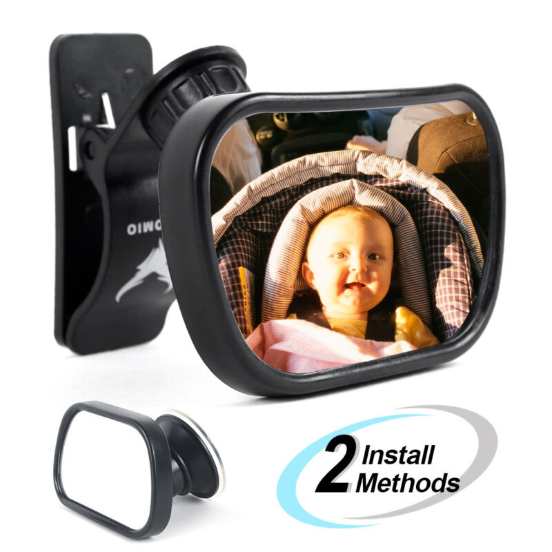 Baby Car Mirror Back Seat Rear Ward Safety View for Infant w/ Clamp & Sucker