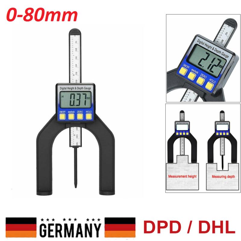 0-80mm Digitales Höhenmessgerät LCD-Tiefenmesser Meßschieber für Holzbearbeitung