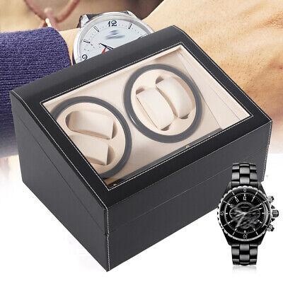 Black 4+6 Automatic Rotation Leather Watch Winder Storage Display Case Box SALE