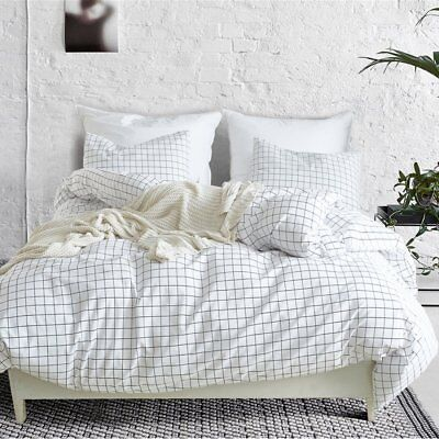 3 Piece Mini Grid Duvet Cover Set, Modern Black and White Plaid (Black And White Bed Set)
