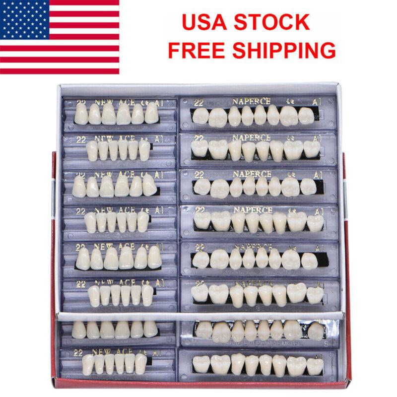 US 168pc Dental Synthetic Resin False Teeth Upper Lower Denture 22# A1 Shade