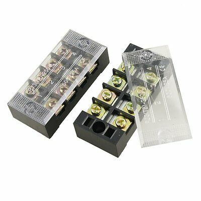 2 Pcs 25a Plastic 4 Position Wire Connector Barrier Terminal Block Dt