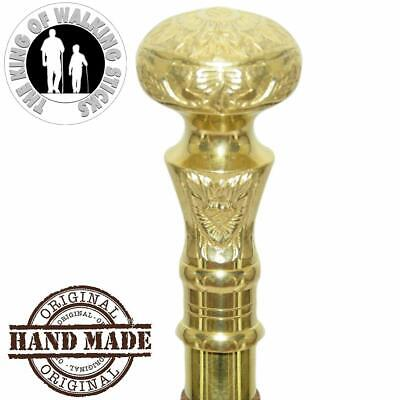 Solid High Grade Brass & Natural Golden Finish Handle Only Walking Stick Canes