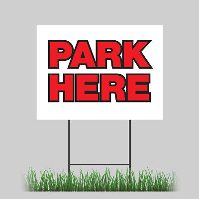18x24 Free Parking Park Here Store Yard Sign With Stake Outdoor Coroplast