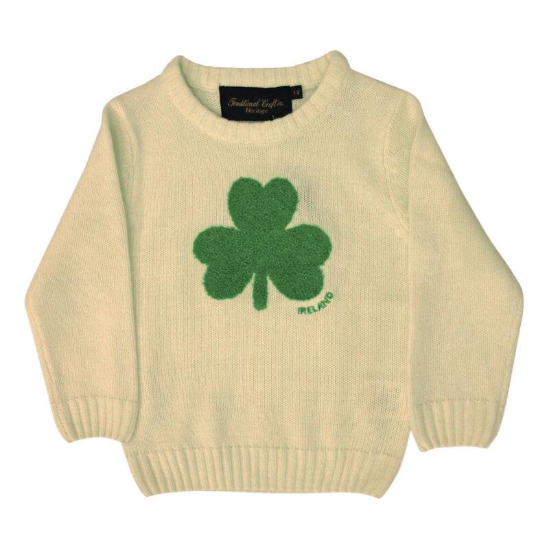 Kids Jumper Cream Knit Emerald Shamrock Traditional Aran Sweater