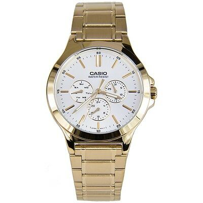 Casio Multi-Dial Stainless Steel Men's Watch MTP-V300G-7AV - Gold Tone