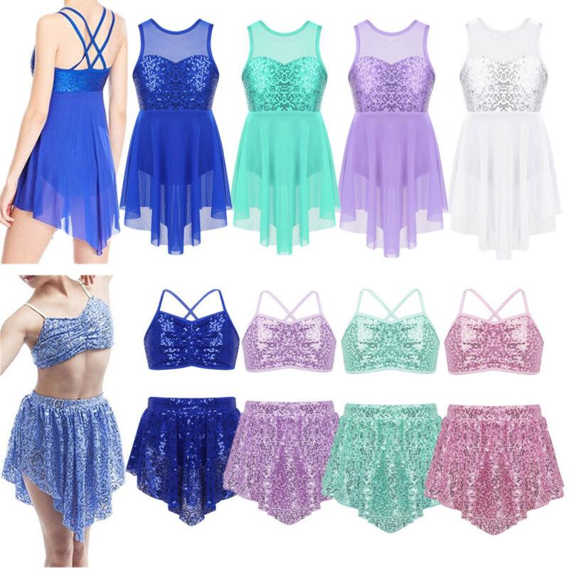 Girls Lyrical Ballet Dance Sequins Leotard Dress Double Straps Dancewear Costume