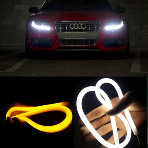 2PCS Dual Color White & Amber LED Strips Turn Signal DRL Lamp For Benz