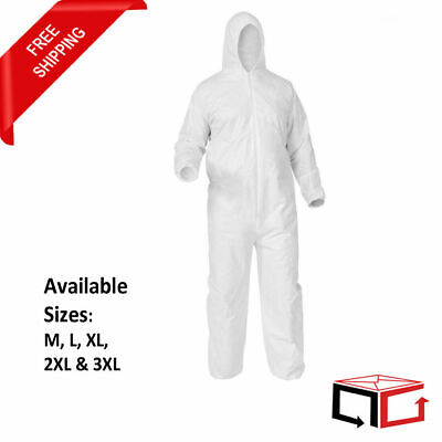 25 White Disposable Coverall Bunny Suit Hood Elastic Cuff Ankles & Waist M-3XL