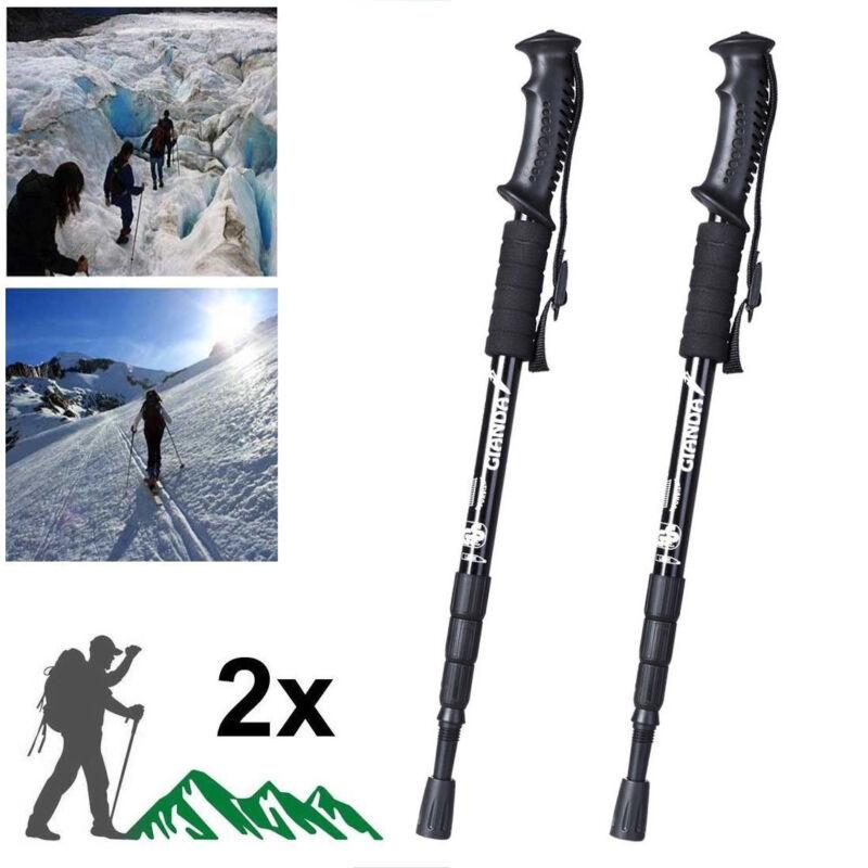 Pair 2 Trekking Walking Hiking Sticks Poles Adjustable Alpenstock anti-shock
