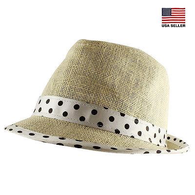 Linen Straw Hat (Linen Natural Fedora Polka Dot Trim Trilby Summer Beach Sun Straw Panama Hat )