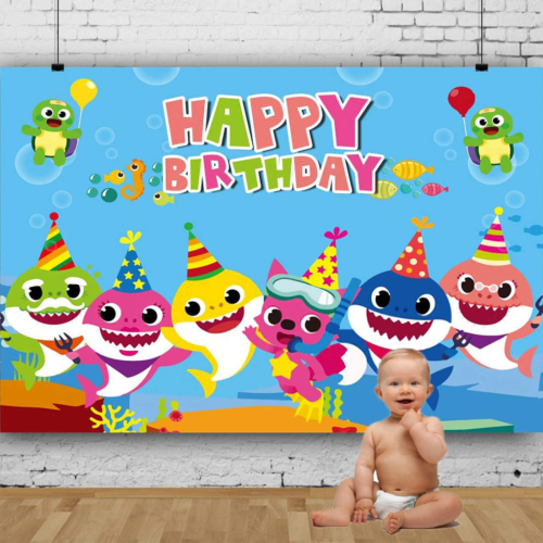 Backdrop For Photography Baby Shark Paper Food Undersea World Whale Kid Party US - $13.72
