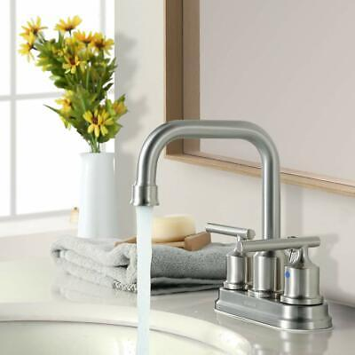 Bathroom Faucet Two Handle Centerset With Drain 3 Hole Brushed Nickel High-Arc Nickel Two Handle