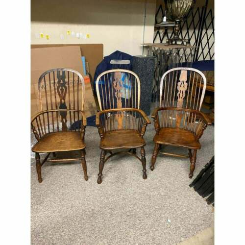 3 Antique English Windsor Arm chairs ( Kitchen ) or Breakfast Room