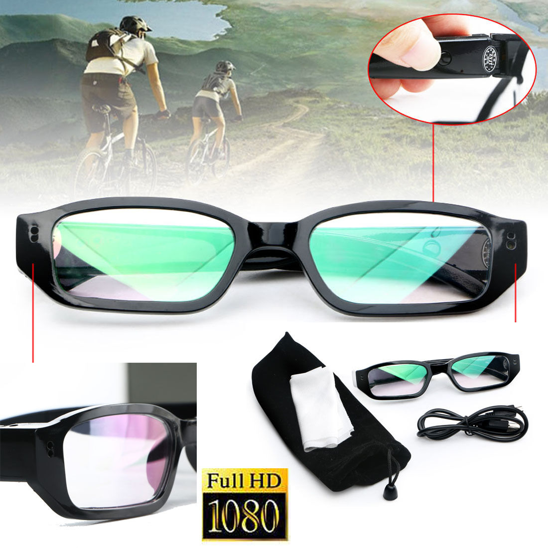 1080P HD Digital Video Camera Glasses Audio Recording DVR Eyewear Camcorder New