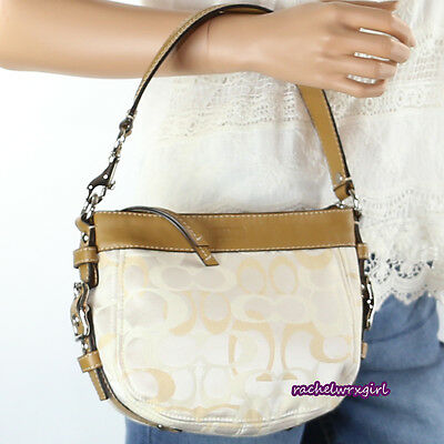 NEW Coach Zoe Optic Signature Top Handle Pouch Bag F44109 White Cream Yellow NEW ()