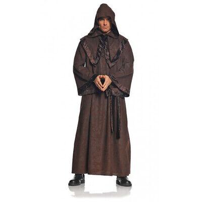 Deluxe Braun Herren Erwachsene Gothic Mönch Robe Halloween - Braune Mönch Robe Kostüm