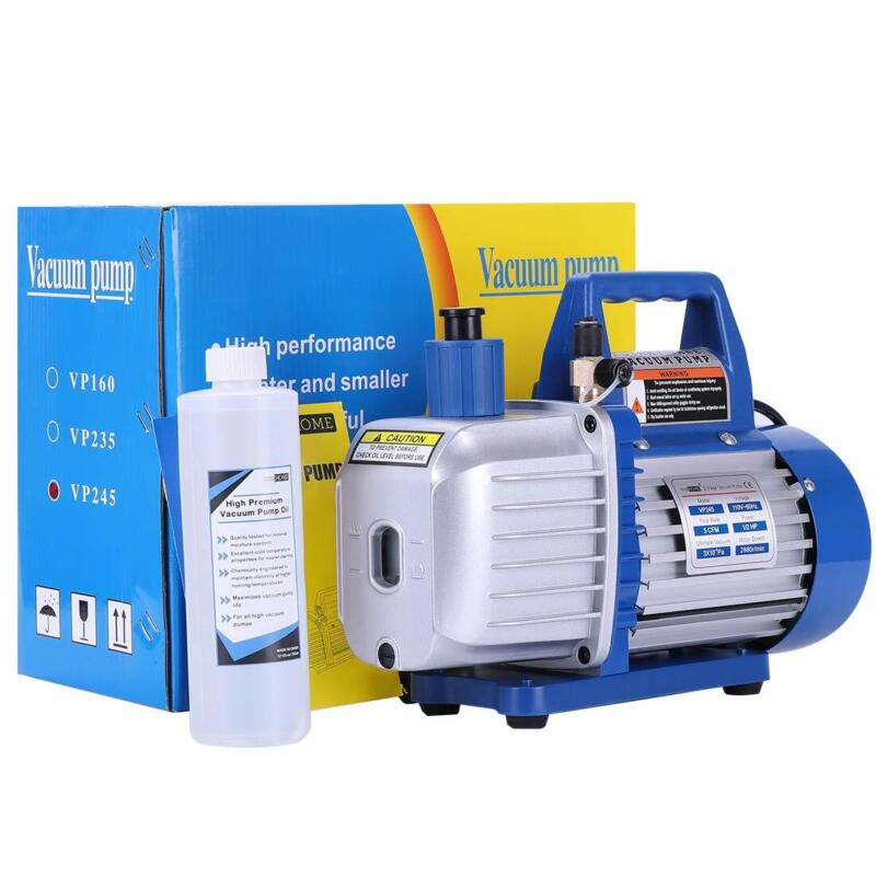 Two Stage 5CFM Rotary Vane Vacuum Pump 1/2HP HVAC Refrigerant Air Condition 110V