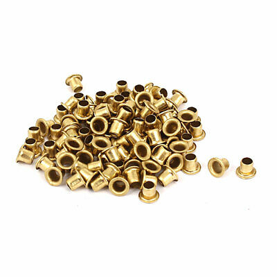 uxcell 100pcs M3 x 5mm Brass Plated Metal Hollow Eyelets Rivets Gold Tone