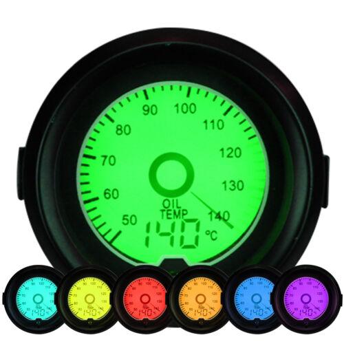 """52mm 2"""" JDM Oil Temperature Meter Celsius Gauge 7 Colors LED Backlit Sensor"""