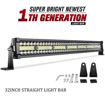 """Tri Row 32inch 585W LED Light Bar Spot Flood Combo For Jeep Offroad 4WD RZR 34"""""""