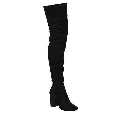 Women's Over The Knee Boots Zip Stretchy Thigh High Snug Fit Chunky Block Heel