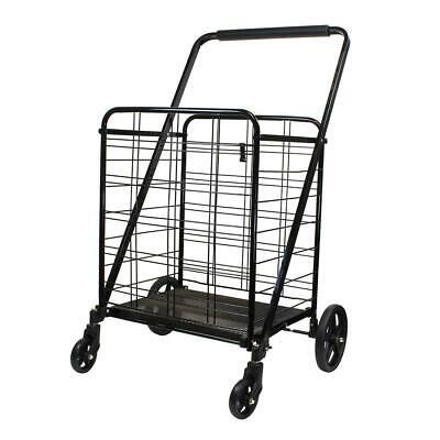 Premium Large Folding Shopping Cart Grocery Utility Black 360 Wheels 160lb