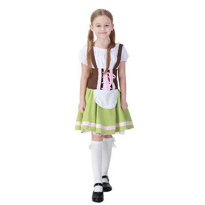 Mädchen Dirndl Kostüm Trachten Oktoberfest Bluse Kleid Schürze Cosplay Karneval ()