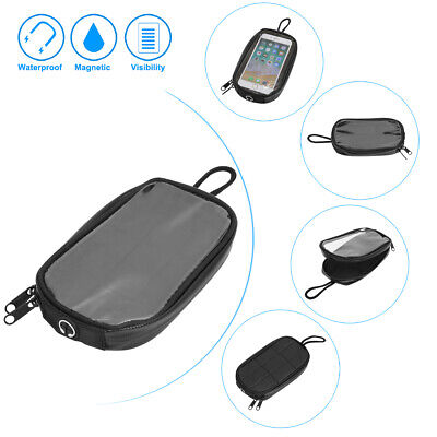 7'' Universal Faux Leather Magnetic Tank Bag Mobile Phone Pocket for Motorcycle