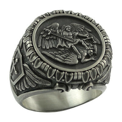 - Saint St Michael Archangel Silver mens Ring Handcrafted US Sizes Army Military