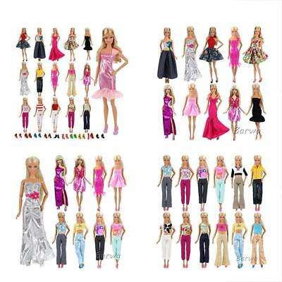Barwa Lot 15 items = 5 Sets Fashion Casual Wear Clothes/outfit with 10 Pair Shoes for Barbie Doll Xmas Gift