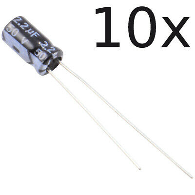 10x 2.2uf 50v 105c Radial Electrolytic Capacitor 5x11mm