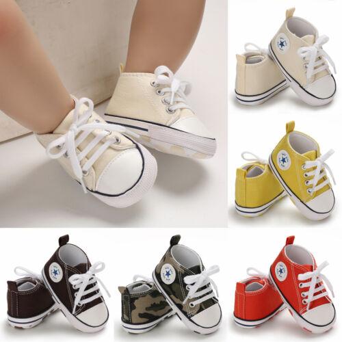 USCute Newborn Kid Canvas Sneakers Baby Boy Girl Soft Sole C