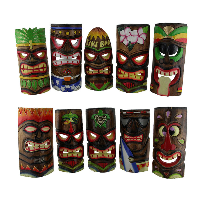 10 Piece Polynesian Party Hand Carved Island Style Wooden Tiki Masks 10 Inch